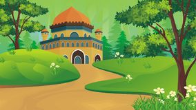 Cartoon Muslim - mosque with lovely landscape Royalty Free Stock Images