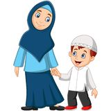 Cartoon Muslim mother with her son royalty free illustration