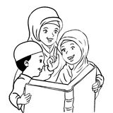 Cartoon Muslim Mather and Kids read book-Vector Illustration