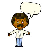 cartoon mustache man with open arms with speech bubble Stock Images