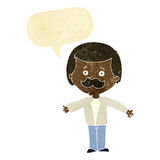 cartoon mustache man with open arms with speech bubble Stock Photo