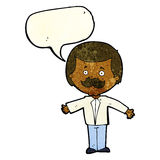 cartoon mustache man with open arms with speech bubble Stock Photography