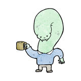 Cartoon mutant monster with cup of coffee Stock Photo