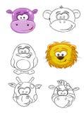 Cartoon muzzles of animals Stock Photos