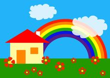 Cartoon: my home. Simple vector drawing of home under rainbow Royalty Free Stock Photos
