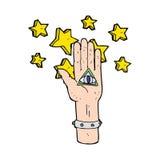 Cartoon mystic eye hand symbol Royalty Free Stock Photo