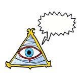 Cartoon mystic eye symbol with speech bubble Royalty Free Stock Photography