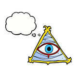 Cartoon mystic eye symbol with thought bubble Royalty Free Stock Images