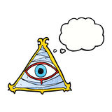 Cartoon mystic eye symbol with thought bubble Stock Photography