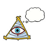 Cartoon mystic eye symbol with thought bubble Stock Images