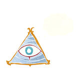 Cartoon mystic eye symbol with thought bubble Stock Image