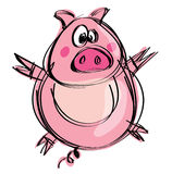 Cartoon naif baby pig in a naif childish drawing style Royalty Free Stock Images