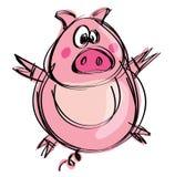 Cartoon naif baby pig in a naif childish drawing style. Cartoon funny naif baby pig in a naif childish drawing style spreading hands and feet Royalty Free Stock Images