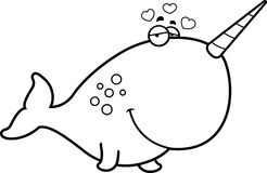 Cartoon Narwhal in Love Royalty Free Stock Photos