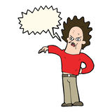 Cartoon nasty boy with speech bubble Royalty Free Stock Images