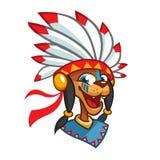 Cartoon Native American character head icon. Vector illustration of native american chief Vector Illustration