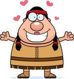 Cartoon Native American Hug Royalty Free Stock Image