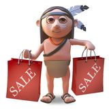 Cartoon Native American Indian man holding shopping bags from a sale, 3d illustration. Render royalty free illustration