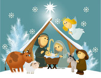 Cartoon nativity scene with holy family Royalty Free Stock Photo