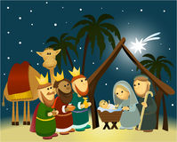 Cartoon nativity scene with holy family. Christmas background with Holy Family Stock Photo