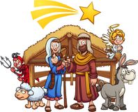 Cartoon nativity scene with shooting star. And devil hiding. Vector clip art illustration with simple gradients. Some elements on separate layers Royalty Free Stock Photos