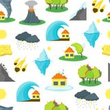 Cartoon Natural Disaster Background Pattern. Vector. Cartoon Natural Disaster Background Pattern on a White Flat Style Design Element Danger Insurance Concept Stock Image