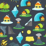 Cartoon Natural Disaster Background Pattern. Vector. Cartoon Natural DisasterBackground Pattern Flat Style Design Element Danger Insurance Concept. Vector Stock Photography