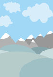 Cartoon natural landscape. Sky with clouds. Mountains and fields Royalty Free Stock Photos