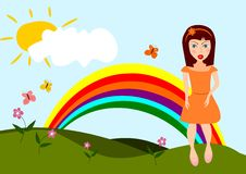 Cartoon nature. Abstract illustration of the field with girl in kids style Royalty Free Stock Image