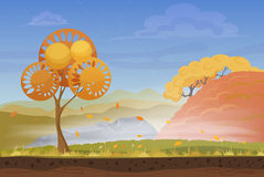 Cartoon nature autumn landscape in storm rainy wind cold day with grass, trees, cloudy sky and mountains hills. Vector Stock Images