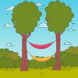 Cartoon Nature Background. Hammocks on a tree. Vector. Illustration Stock Images
