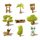 Cartoon nature elements, vector objects on white Royalty Free Stock Image