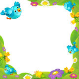 Cartoon nature floral frame with space for text. Happy and funny traditional illustration for children - scene for different usage royalty free illustration
