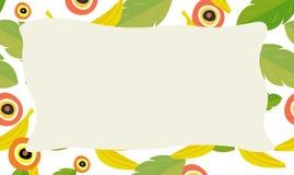 Cartoon nature frame - horizontal - nature - bananas Royalty Free Stock Photo