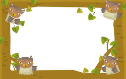Cartoon nature frame - horizontal - owl Stock Photo