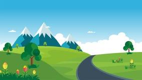 Cartoon nature landscape. beautiful scenary with flat design Stock Images