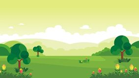 Cartoon nature landscape. beautiful scenary with flat design Royalty Free Stock Images