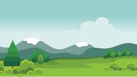 Cartoon nature landscape. beautiful scenary with flat design Royalty Free Stock Photo