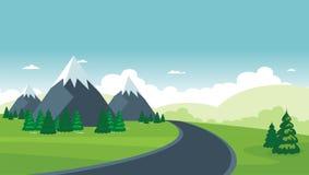 Cartoon nature landscape. beautiful scenary with flat design Stock Photography