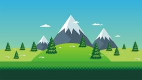 Cartoon nature landscape. beautiful scenary with flat design Stock Image