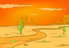 Cartoon Nature Landscape Desert Stock Photography