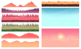 Cartoon nature landscape elements set, platform, trees, sky, hills and forest clip art, isolated on white,2d game Stock Photography