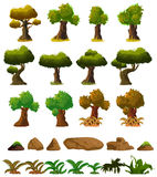 Cartoon nature landscape elements set, trees, stones and grass clip art, isolated on white background. Cartoon nature landscape elements set, trees, stones and