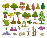 Cartoon nature landscape elements Royalty Free Stock Photo