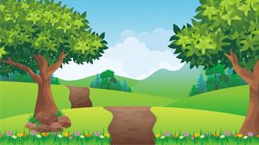 Nature landscape, cartoon game background Royalty Free Stock Photography
