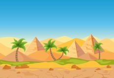 Cartoon nature sand desert game style vector landscape. Cartoon nature sand desert game style landscape with palms, herbs and Egyptian pyramids Stock Image