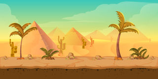 Cartoon nature sand desert landscape with palms, herbs and mountains. Vector game style illustration Stock Photo