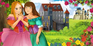 Cartoon nature scene with beautiful castles near the forest with beautiful young girls sisters stock photography