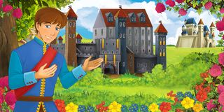 Cartoon nature scene with beautiful castles near the forest with handsome young boy stock illustration