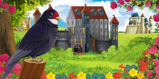 Cartoon nature scene with beautiful castles near the forest and resting cuckoo bird royalty free stock images